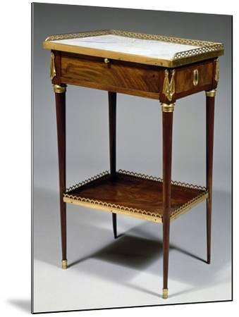 Louis XVI Style Table with Mahogany Veneer Finish and Marble Top, Stamped Charles Topino--Mounted Giclee Print