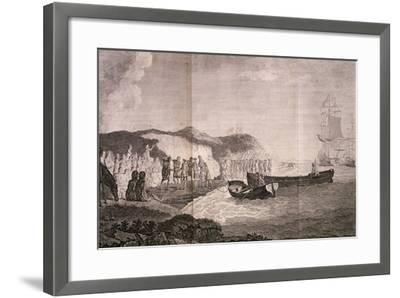 Patagonians Welcoming Commander Byron, Engraving by Robert De Launay, from Cook Atlas, 1784--Framed Giclee Print