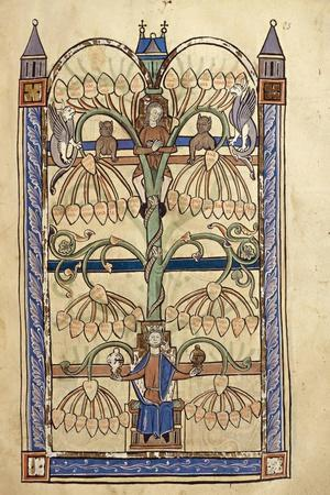 France, Genealogical Tree of the Virgin Mary, Miniature from the Manuscript Speculum Virginae--Stretched Canvas Print