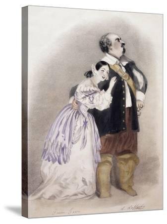 Giulia Grisi and Luigi Lablache in Roles of Elvira and George in Premiere of Opera I Puritani--Stretched Canvas Print
