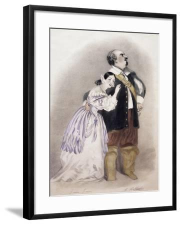 Giulia Grisi and Luigi Lablache in Roles of Elvira and George in Premiere of Opera I Puritani--Framed Giclee Print