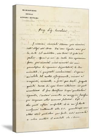 Italy, Sant'Agata Di Villanova Sull'Arda, Letter from Statesman Camillo Benso Count of Cavour--Stretched Canvas Print