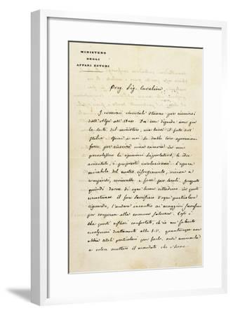 Italy, Sant'Agata Di Villanova Sull'Arda, Letter from Statesman Camillo Benso Count of Cavour--Framed Giclee Print