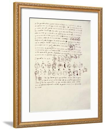 Manuscript Page with Mayan Alphabet, from Relationship of Things of Yucatan by Diego De Landa--Framed Giclee Print