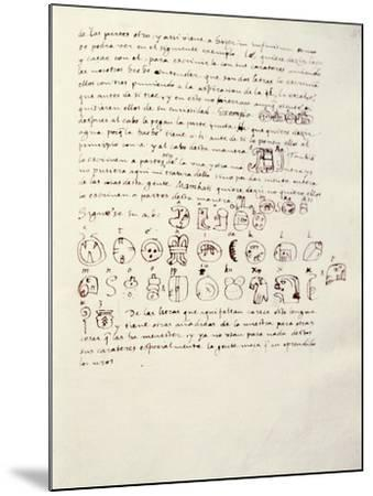 Manuscript Page with Mayan Alphabet, from Relationship of Things of Yucatan by Diego De Landa--Mounted Giclee Print