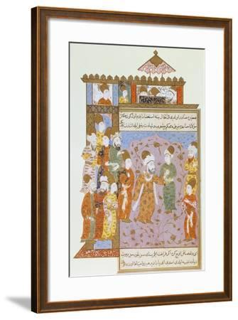 Mevlana Warns His Son, Sultan Veled, About Sin, Ottoman Miniature from Mevlana Rumi's Memoirs--Framed Giclee Print