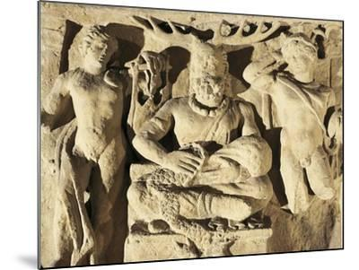 Votive Stele Portraying Celtic God Cernunnos Between Apollo and Mercury, Circa 100 A.D., from Reims--Mounted Giclee Print
