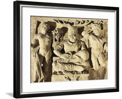 Votive Stele Portraying Celtic God Cernunnos Between Apollo and Mercury, Circa 100 A.D., from Reims--Framed Giclee Print