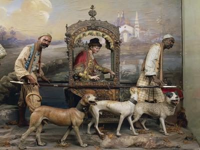 Noblewoman on Sedan Chair and Dogs, Figurines for Neapolitan Nativity Scene by Salvatore Di Franco--Framed Giclee Print