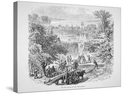 Dutch Building the Palisades or Stockade around New Amsterdam for Protection--Stretched Canvas Print