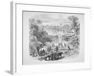 Dutch Building the Palisades or Stockade around New Amsterdam for Protection--Framed Giclee Print