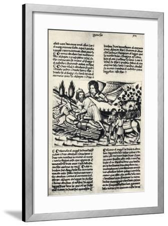 Illustration Depicting Abraham Who Is Asked by God to Sacrifice His Son Isaac--Framed Giclee Print