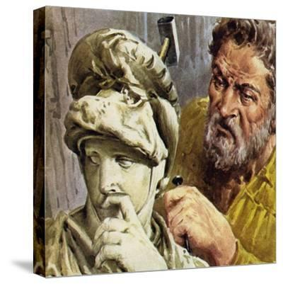 Michelangelo Worked on a Chapel Which Was to Contain the Tombs of the De Medici Family--Stretched Canvas Print