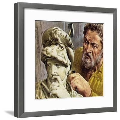 Michelangelo Worked on a Chapel Which Was to Contain the Tombs of the De Medici Family--Framed Giclee Print