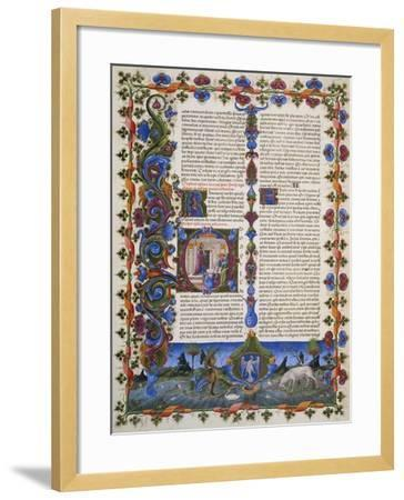 The End of Book of Solomon, from Volume I of Bible of Borso D'Este, Illuminated by Taddeo Crivelli--Framed Giclee Print