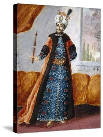 Actor in Oriental Costume in Role of Suleiman, Character from Opera Comique by Charles Simon Favart--Stretched Canvas Print