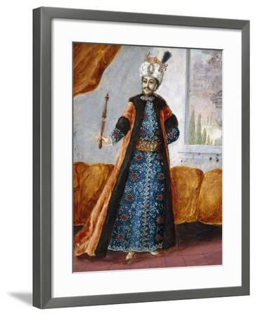 Actor in Oriental Costume in Role of Suleiman, Character from Opera Comique by Charles Simon Favart--Framed Giclee Print