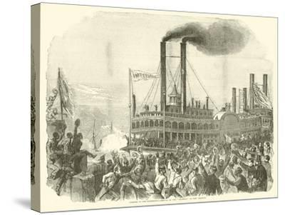 """Opening of the Mississippi, Arrival of the """"Imperial"""" at New Orleans, July 1863--Stretched Canvas Print"""