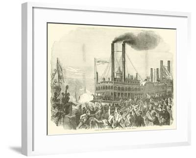 """Opening of the Mississippi, Arrival of the """"Imperial"""" at New Orleans, July 1863--Framed Giclee Print"""