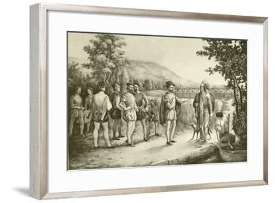 Jacques Cartier, His First Interview with the Indians at Hochelaga Now Montreal in 1535, C.1850--Framed Giclee Print