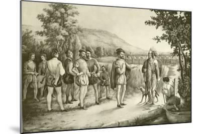 Jacques Cartier, His First Interview with the Indians at Hochelaga Now Montreal in 1535, C.1850--Mounted Giclee Print