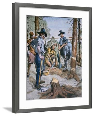 Pilgrim Fathers and Squanto, the Friendly Indian, after an Illustration by C. W. Jefferys, 1926--Framed Giclee Print