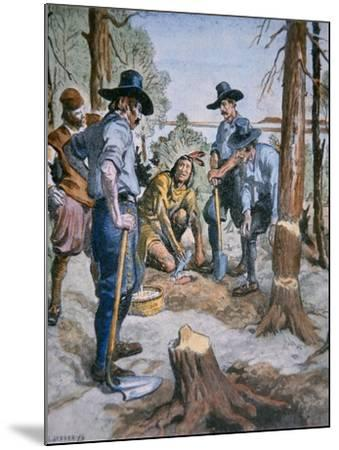 Pilgrim Fathers and Squanto, the Friendly Indian, after an Illustration by C. W. Jefferys, 1926--Mounted Giclee Print