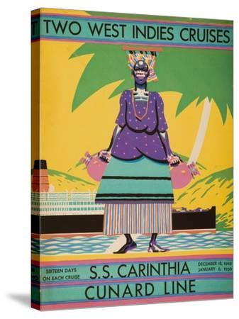 Brochure Cover for 'Two West Indies Cruises' on Board the S.S. 'Carinthia', 1929--Stretched Canvas Print