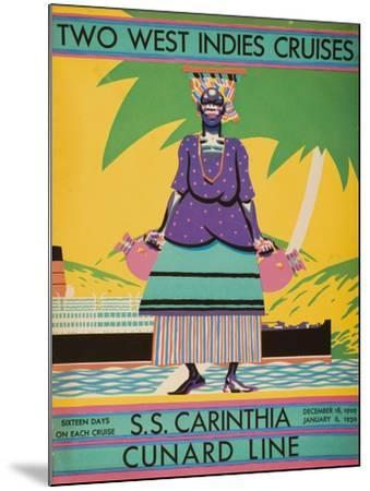 Brochure Cover for 'Two West Indies Cruises' on Board the S.S. 'Carinthia', 1929--Mounted Giclee Print