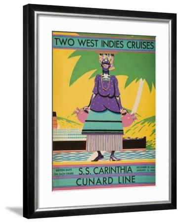Brochure Cover for 'Two West Indies Cruises' on Board the S.S. 'Carinthia', 1929--Framed Giclee Print