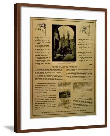 We Need an Army to Protect Us, Propaganda Pamphlet from the National Security League, C.1914-18--Framed Giclee Print