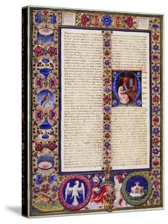 Incipit from Book of Sirach, from Volume I of Bible of Borso D'Este--Stretched Canvas Print