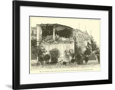 House in the Avenue De La Gare, Mentone, Ruined by the Riviera Earthquake, 1887--Framed Giclee Print
