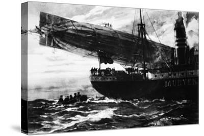 A German Airship Commencing a Raid: Holding Up a Neutral Ship, from 'The Illustrated War News'--Stretched Canvas Print
