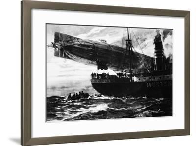 A German Airship Commencing a Raid: Holding Up a Neutral Ship, from 'The Illustrated War News'--Framed Giclee Print