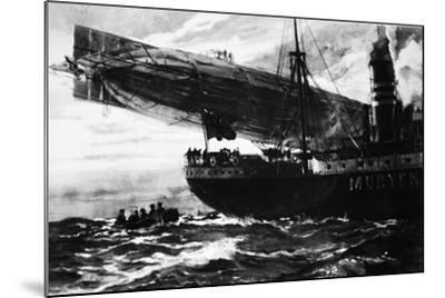 A German Airship Commencing a Raid: Holding Up a Neutral Ship, from 'The Illustrated War News'--Mounted Giclee Print