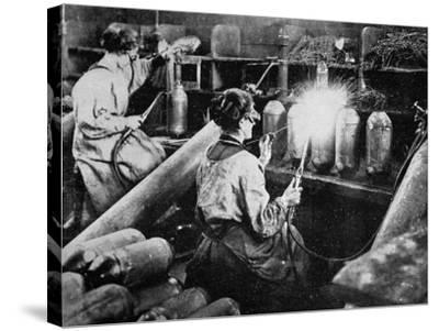 For General Petain's Guns, French Women Finishing Shell Cases, from 'The Illustrated War News'--Stretched Canvas Print