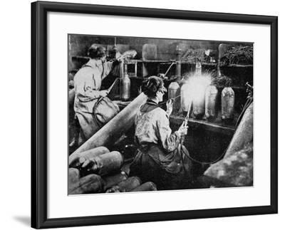 For General Petain's Guns, French Women Finishing Shell Cases, from 'The Illustrated War News'--Framed Giclee Print