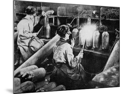 For General Petain's Guns, French Women Finishing Shell Cases, from 'The Illustrated War News'--Mounted Giclee Print