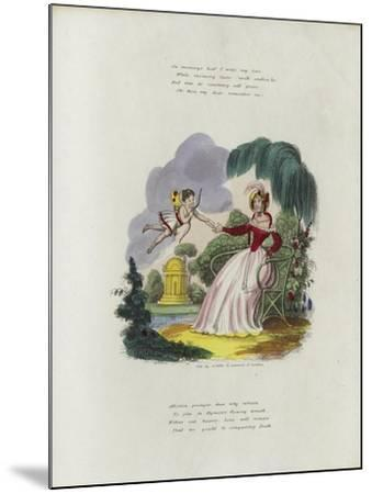 British Valentine Card with an Image of a Cherub Delivering a Valentine's Card to a Woman--Mounted Giclee Print