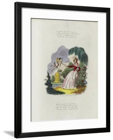 British Valentine Card with an Image of a Cherub Delivering a Valentine's Card to a Woman--Framed Giclee Print