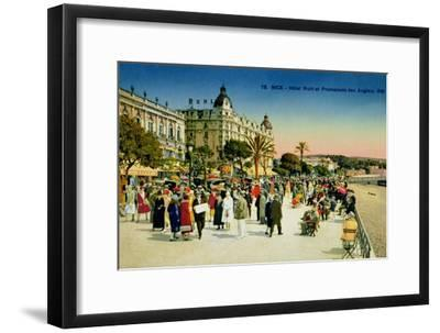 Postcard Depicting the Promenade Des Anglais and the Hotel Ruhl, Nice, C.1930--Framed Giclee Print