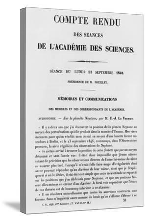 Report of the Sessions at the Academie Des Sciences--Stretched Canvas Print