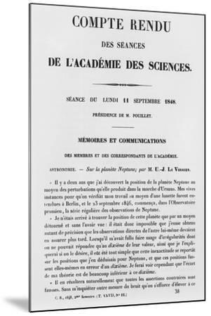 Report of the Sessions at the Academie Des Sciences--Mounted Giclee Print