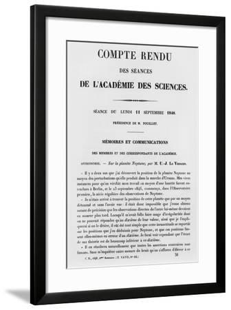 Report of the Sessions at the Academie Des Sciences--Framed Giclee Print