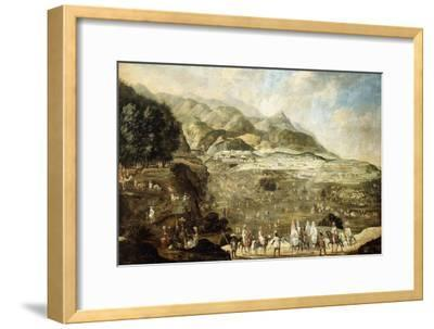 A Moroccan Military Encampment with Veiled Ladies on Donkeys in the Foreground--Framed Giclee Print