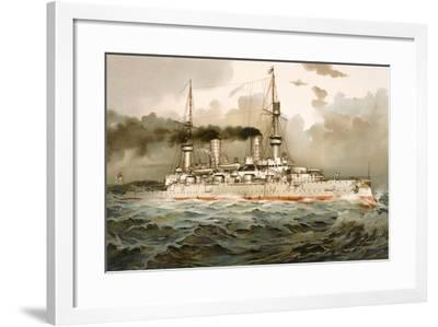Ship of the Line 'Kaiser Wilhelm', Illustration from 'Deutschland Zur See', 1910--Framed Giclee Print