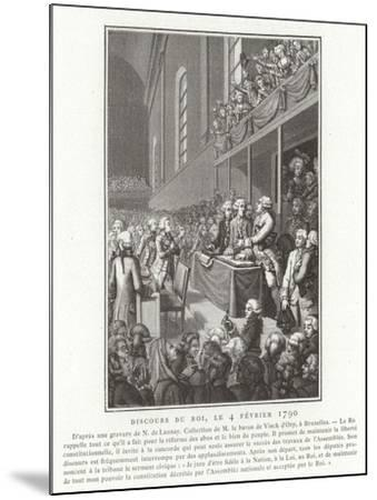 Speech by King Louis XVI of France to the National Assembly, French Revolution, 4 February 1790--Mounted Giclee Print