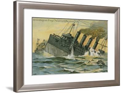 Destruction of Three British Warships by the German Submarine U-9, World War I, 22 September 1914--Framed Giclee Print