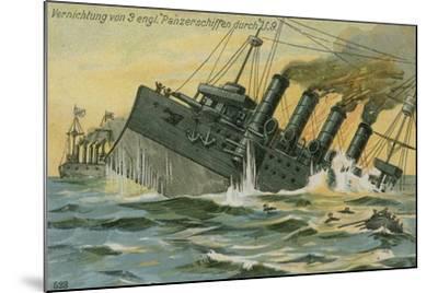 Destruction of Three British Warships by the German Submarine U-9, World War I, 22 September 1914--Mounted Giclee Print